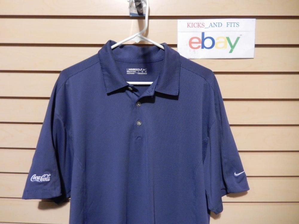 Men's Nike Golf Fit Dry Polo Shirt size Large Coca Cola Logo Blue Spandex Poly #NikeGolf #ShirtsTops