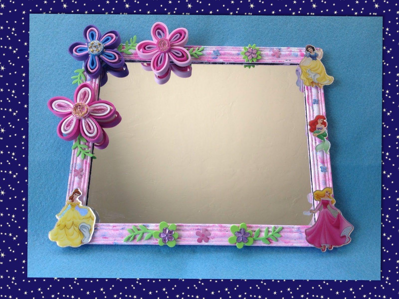 Espejo adornado con flores de foamy manualidades con - Espejos para manualidades ...