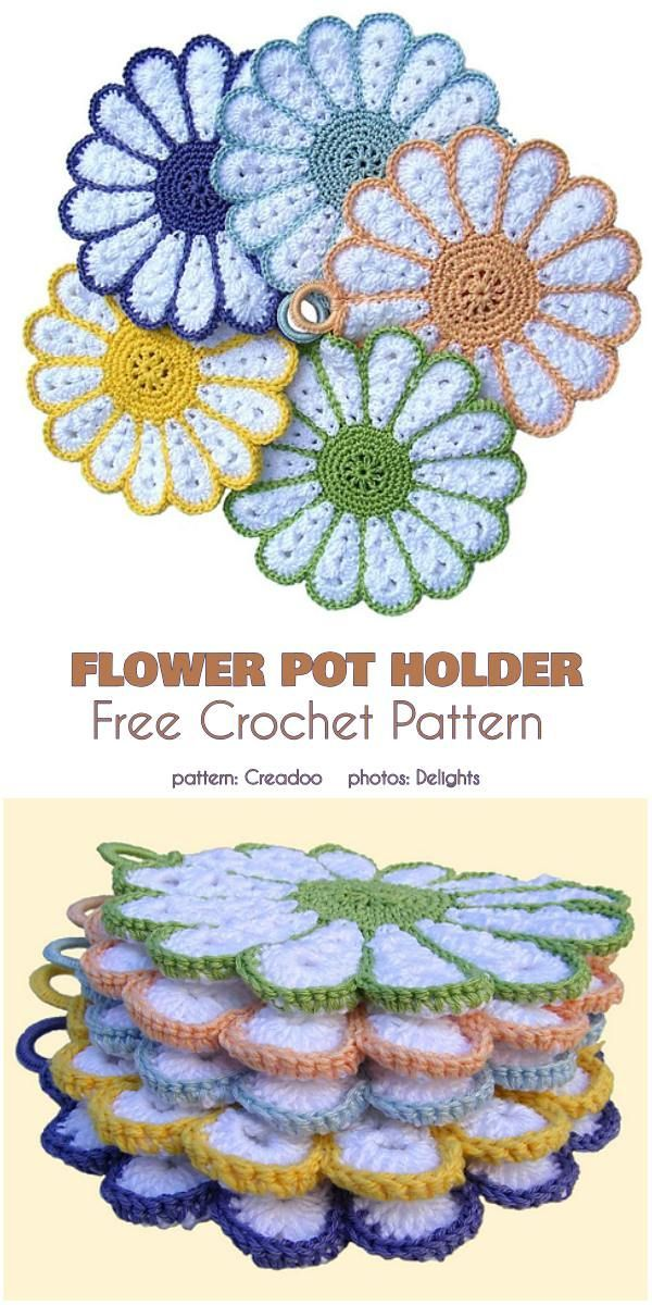 Flower Pot Holder  #flower #holder #crochetpotholderpatterns