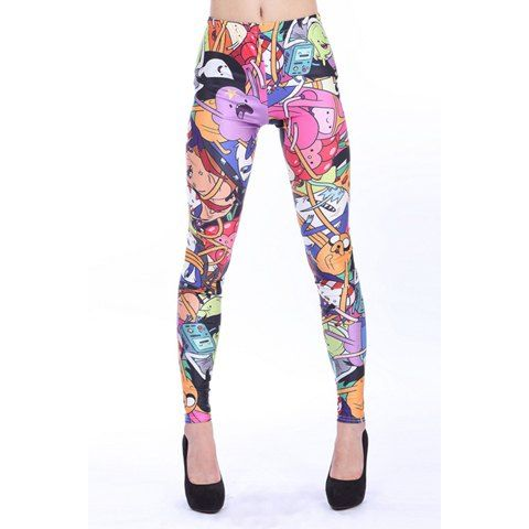 Stylish Stretchy Polyester Cartoon Figure Slimming Leggings For Women