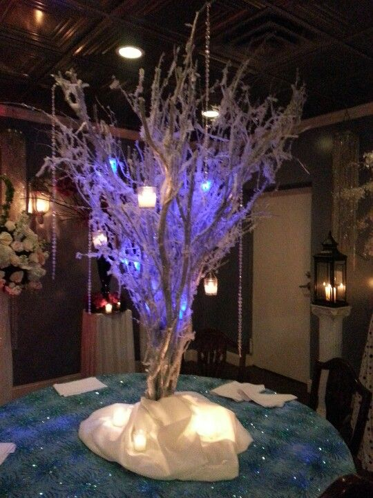 Winter wedding centerpieces birch trees with crystal