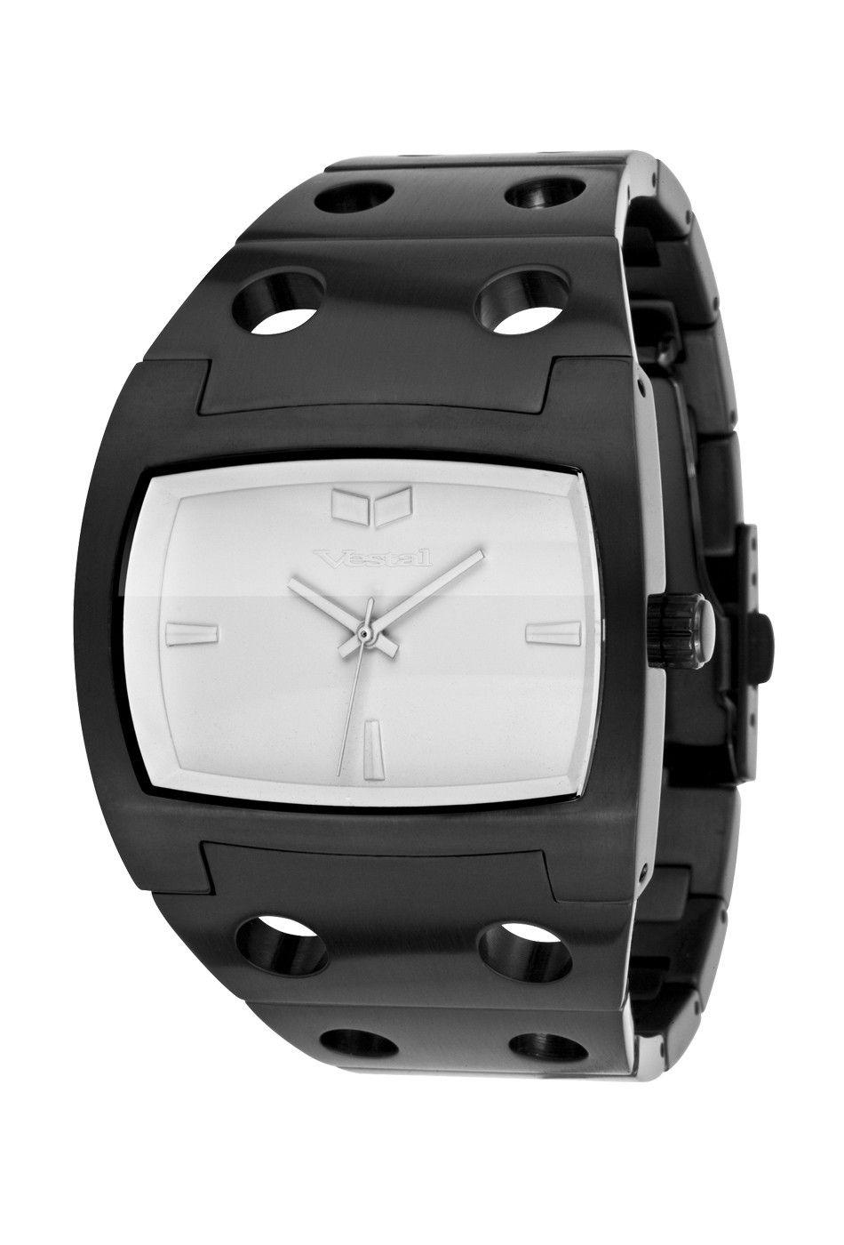 Vestal Mens Destroyer Stainless Watch - Black Bracelet - White Dial - Des051
