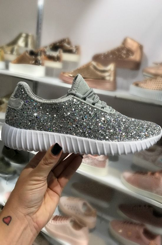 bd7f723e998e Our gorgeous Glitter Bomb Sneakers make the perfect statement for that cute  new workout outfit you just got! They have a white bottom and a label on  the ...