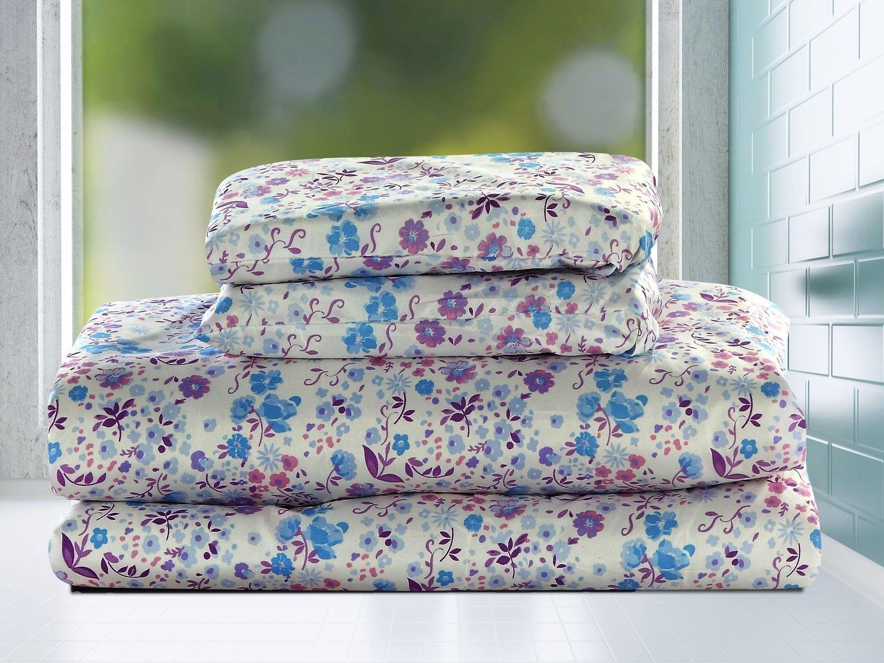 Beatrice aria floral full 4 piece microfiber sheet set