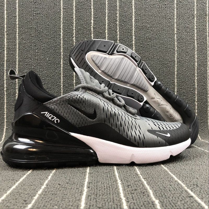dc5ab11d290 Top Quality Nike Air Max 270 Retro Grey Black-White Men s Skateboarding  shoes Casual AH8050-003