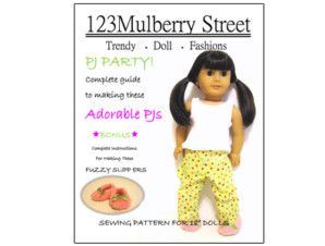 American Girl Doll clothes pattern slippers and pajamas | Liberty Jane Doll Clothes Patterns For American Girl Dolls