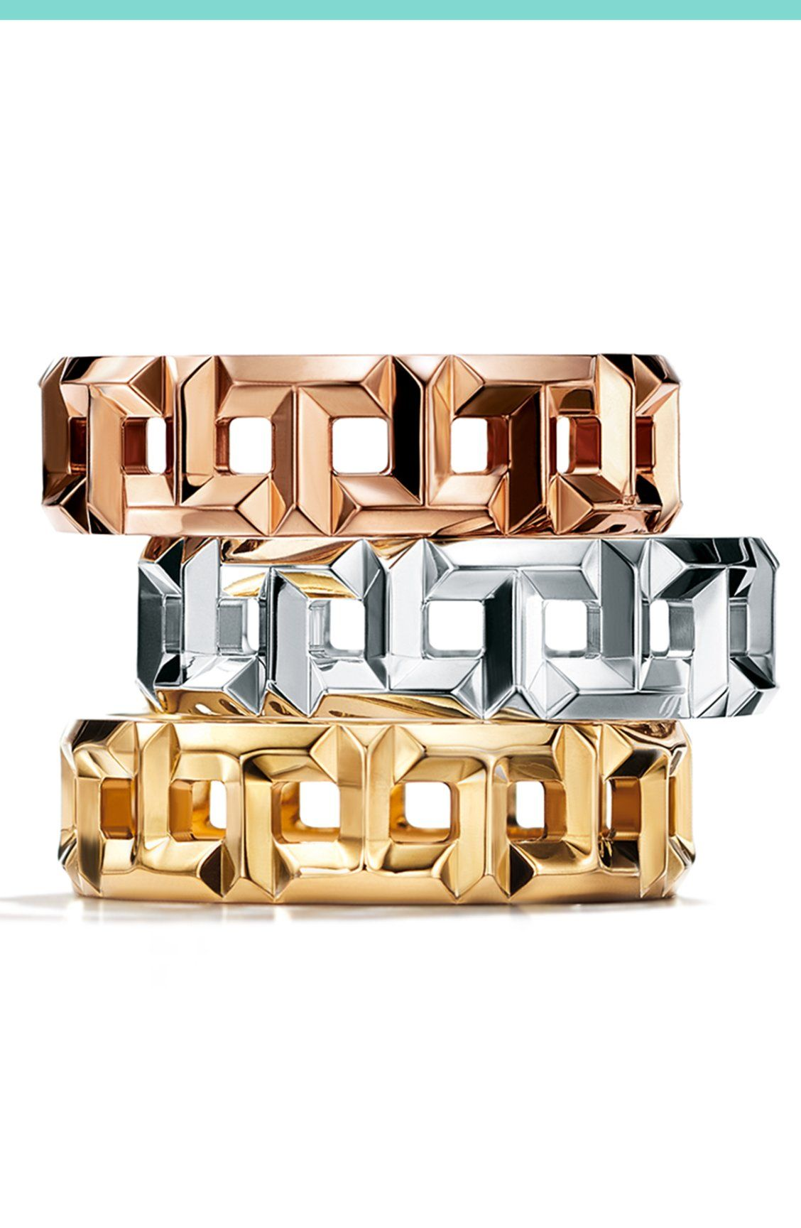 35db0038c Love is love, any way you stack it. Tiffany T True band rings in 18k  yellow, white and rose gold.
