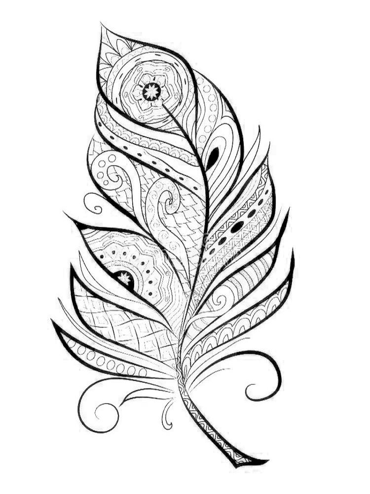 Feather Pattern Coloring Page in 2020