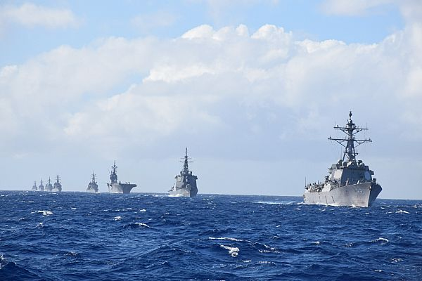 The Arleigh Burke-class guided missile destroyer USS McCampbell (DDG 85), not pictured, takes lead in a formation of ships from the U.S. Navy and Japan Maritime Self-Defense Force (JMSDF) as part of the annual bilateral Guam Exercise (GUAMEX).