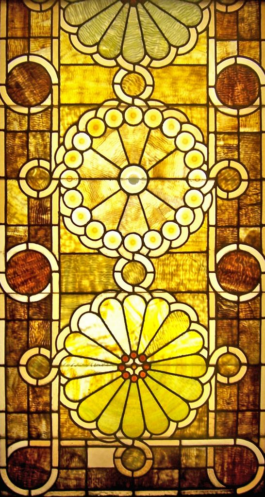 Stained glass window designed by Louis Sullivan in the Auditorium Building in Chicago, Illinois.
