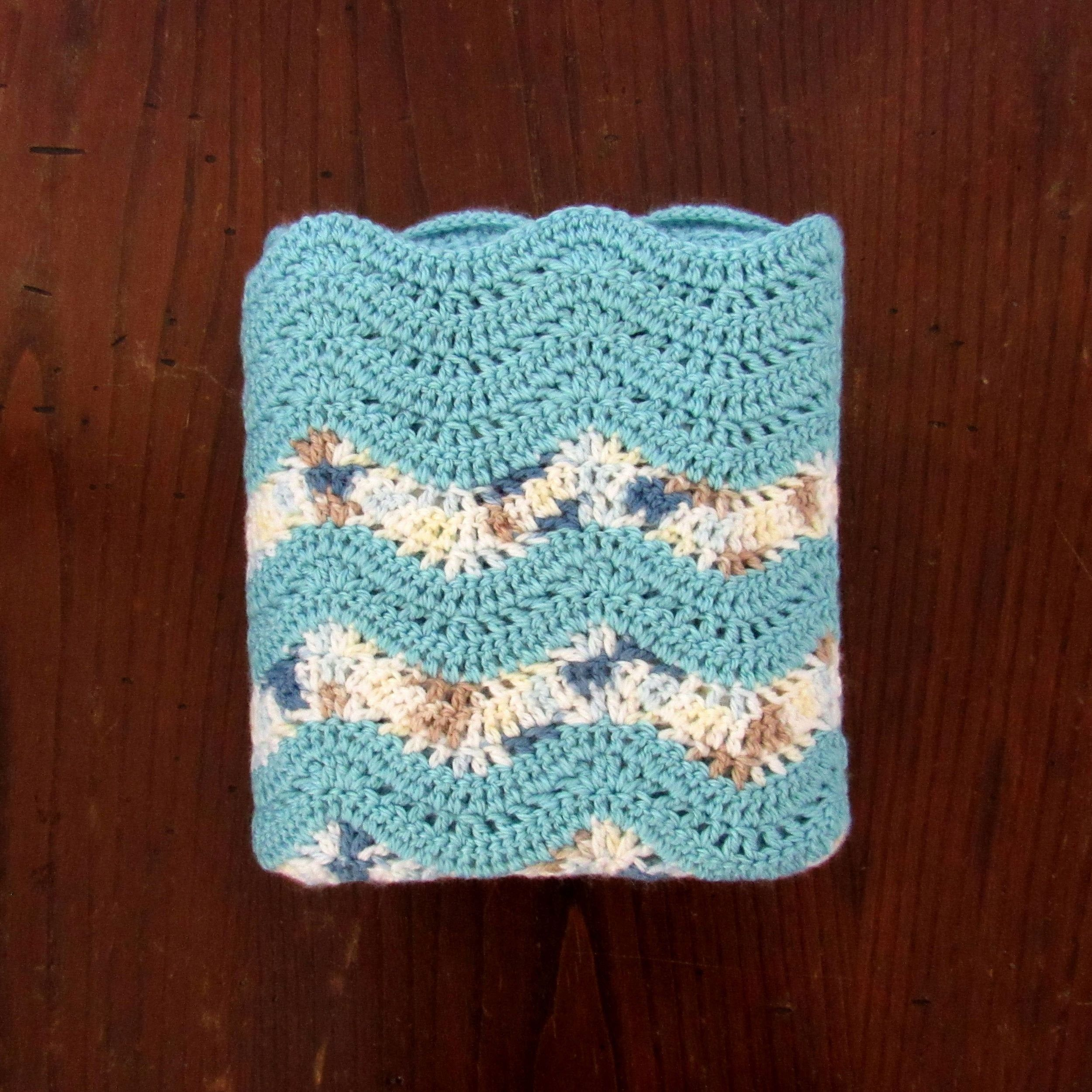 Crochet Baby Blanket - Handmade Boys Baby Turquoise Blue White Beige Yellow Wave Stitch Blanket - Knit Security Blanket - 36 x 34 Inches