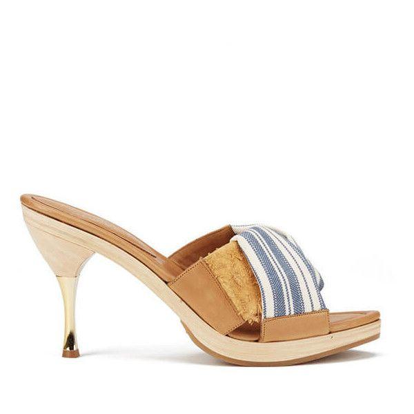 Vivienne Westwood Women's Twisted Mule Heeled Sandals - Cream/Navy ...