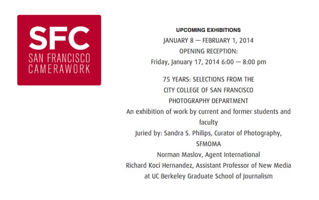Happening next week - Friday, Jan. 17 at SF Cameraworks from 6-8pm.