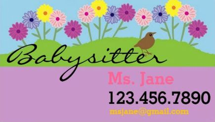 Girly Spring Daisy Flowers Cute Babysitter Business Cards Httpwww
