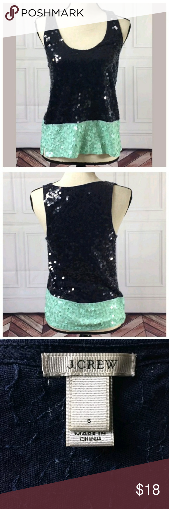 J. Crew Small Top J. Crew Small Top  Navy Blue Color Block Trim  Sequins  Sleeveless  Pullover  Pictures were taken in a smoke-free, pet-friendly environment away from the pets.  Very good used condition  See pictures for flaws (if any), fabric content, cleaning instructions and measurements.  I check all items for flaws and include any in the listing. If I have missed any, it is by mistake.  Thank you for looking at my store! J. Crew Tops
