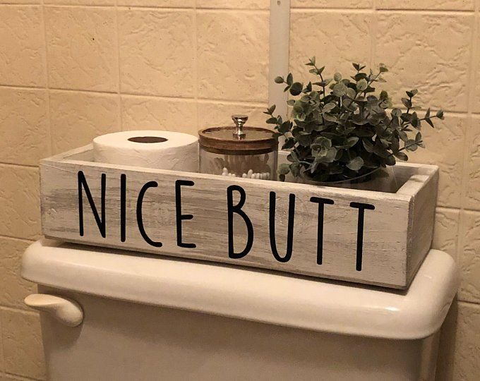 Toilet Top Storage Box / Nice Butt / White Bathroom Storage Box / Toilet Paper Holder / Farmhouse Bathroom Decor/ Nice Butt Tray