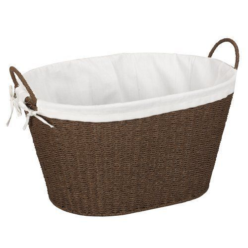 New Household Essentials Lined Paper Rope Laundry Basket Dark