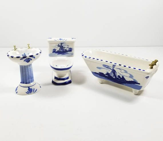 Vintage Blue Delft Bathroom Set Hand Painted And Made In Tin
