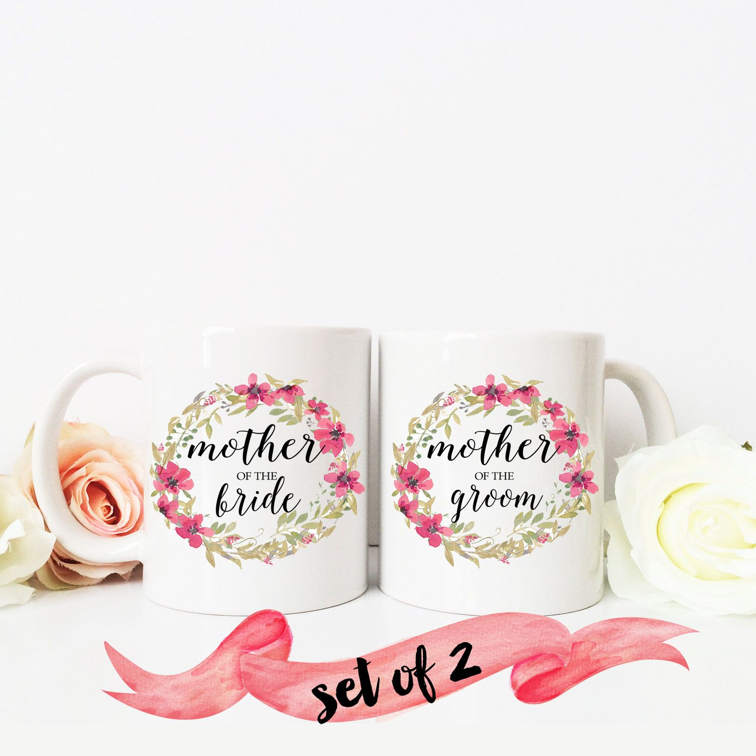mother of the bride and groom coffee mug floral wreath present