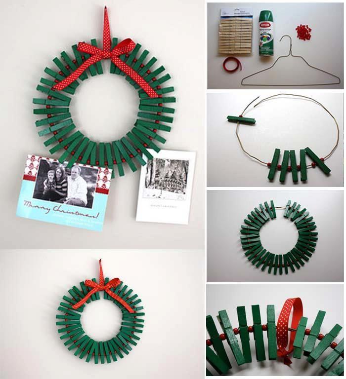 DIY Green Clothespin Wreath. Christmas Card HoldersChristmas ...