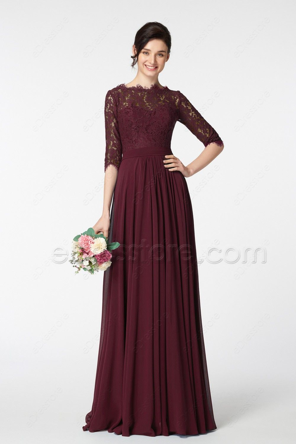 b72b591dbdc0 The dark burgundy prom dress is made of lace and chiffon fabric, featuring  lace scalloped boatneckline, lace top continued with pleated waist and A  Line ...
