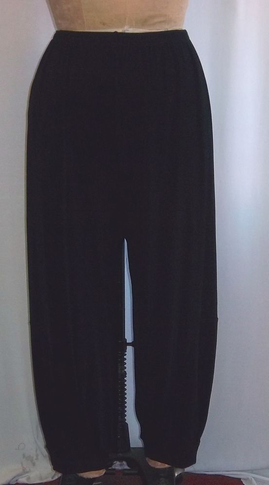 Coco & Juan Lagenlook Plus Size Black Slinky Knit Bubble Pant Size 2 Fits 3X4X #CocoJuan #WideLeg