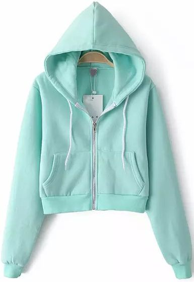 Hooded 17Sheinside Sweatshirt 23 Crop Sleeve En Blue Long Pockets hQtrsd