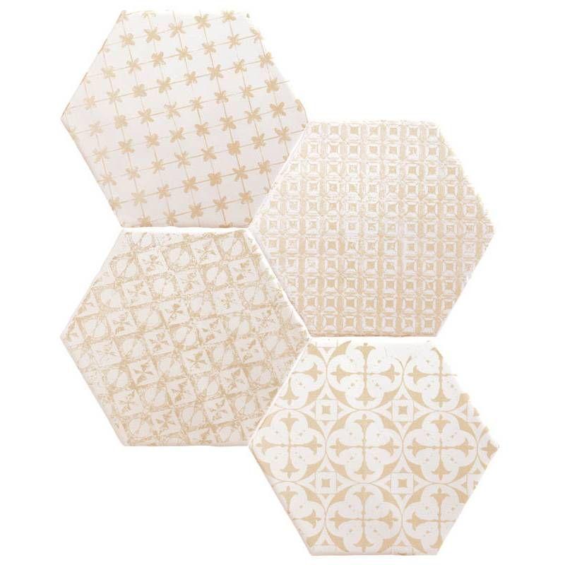 Tomette Hexagonale Decors Beiges Delaves Sur Fond Blanc He0811009 Carrelage Hexagonal Carrelage Comptoir Du Cerame
