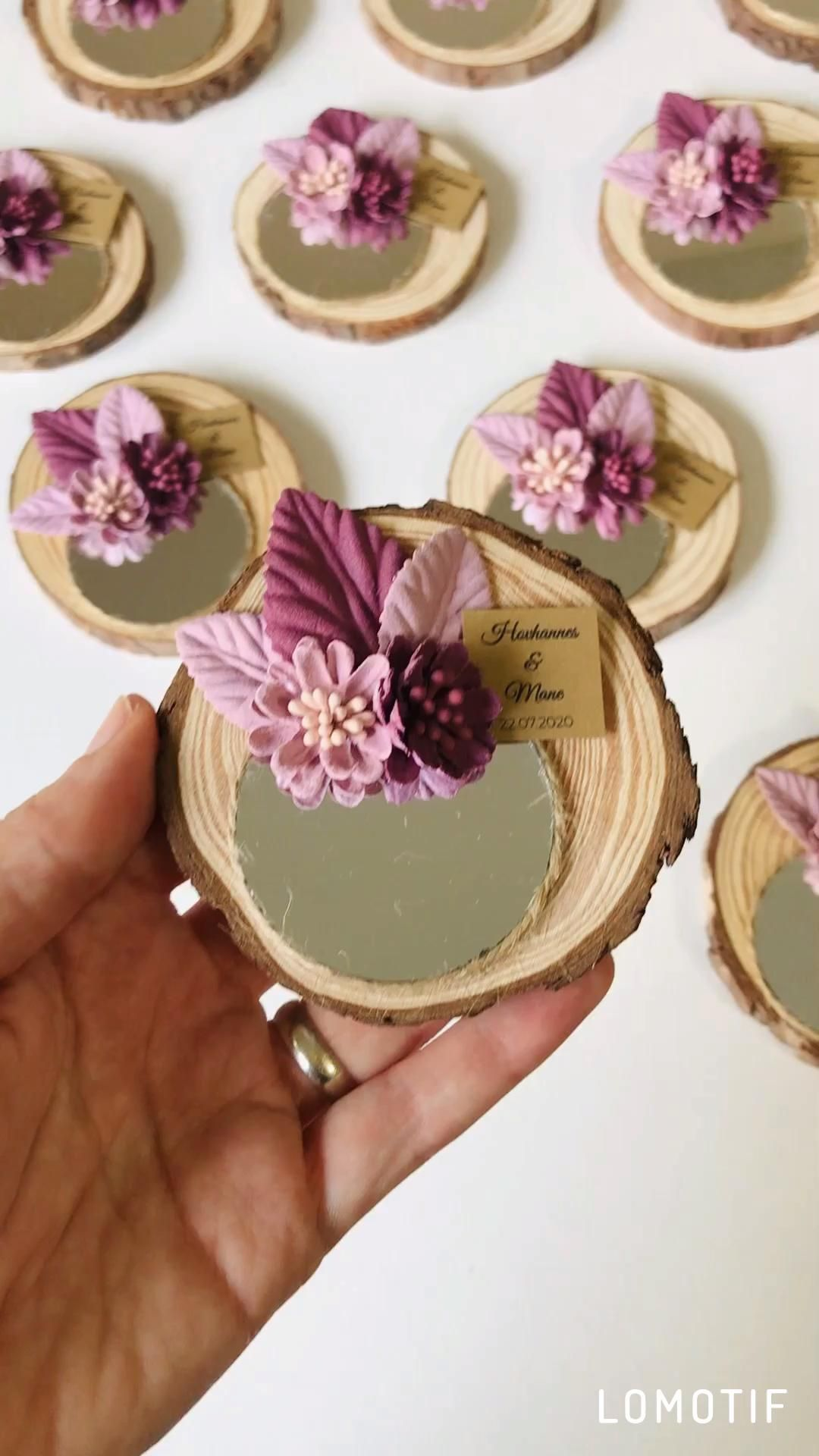10pcs Wooden Mirror Favors Wedding Favors for Gues