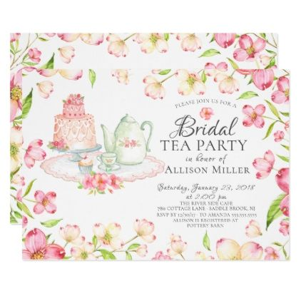 Pretty Pink Floral Bridal Tea Party Invitation  Tea Party