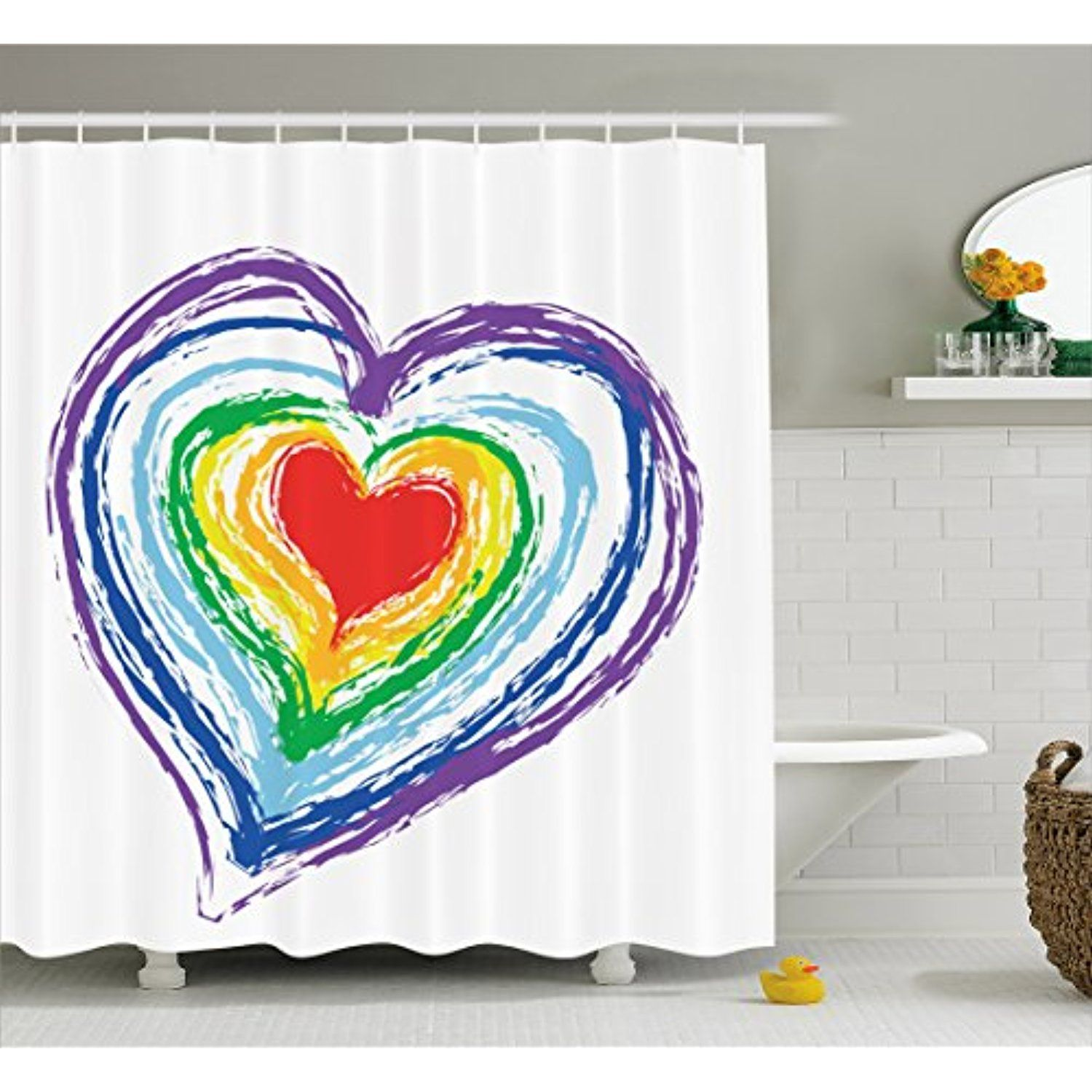 Doodle Shower Curtain By Ambesonne Love Themed Nested Rainbow