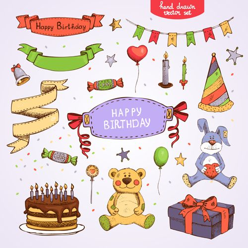 Hand drawn happy birthday elements vector Blog Design Pinterest
