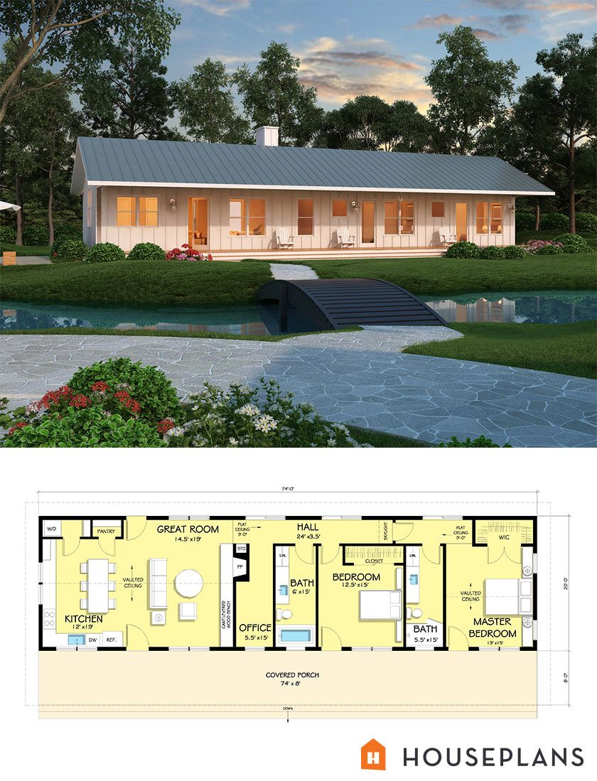 Small 2 bedroom 2 bath modern home 1480sft. Plan 888-4. houseplans.com