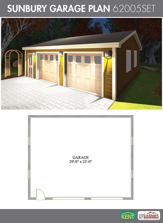 Sunbury Garage Plan 30 X 24 2 Car Garage 62005set Kent Building Supplies Garageplan Kent Building Garage Plan Garage Plans