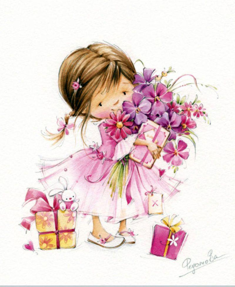Милые открытки для девочки на др, годовщиной