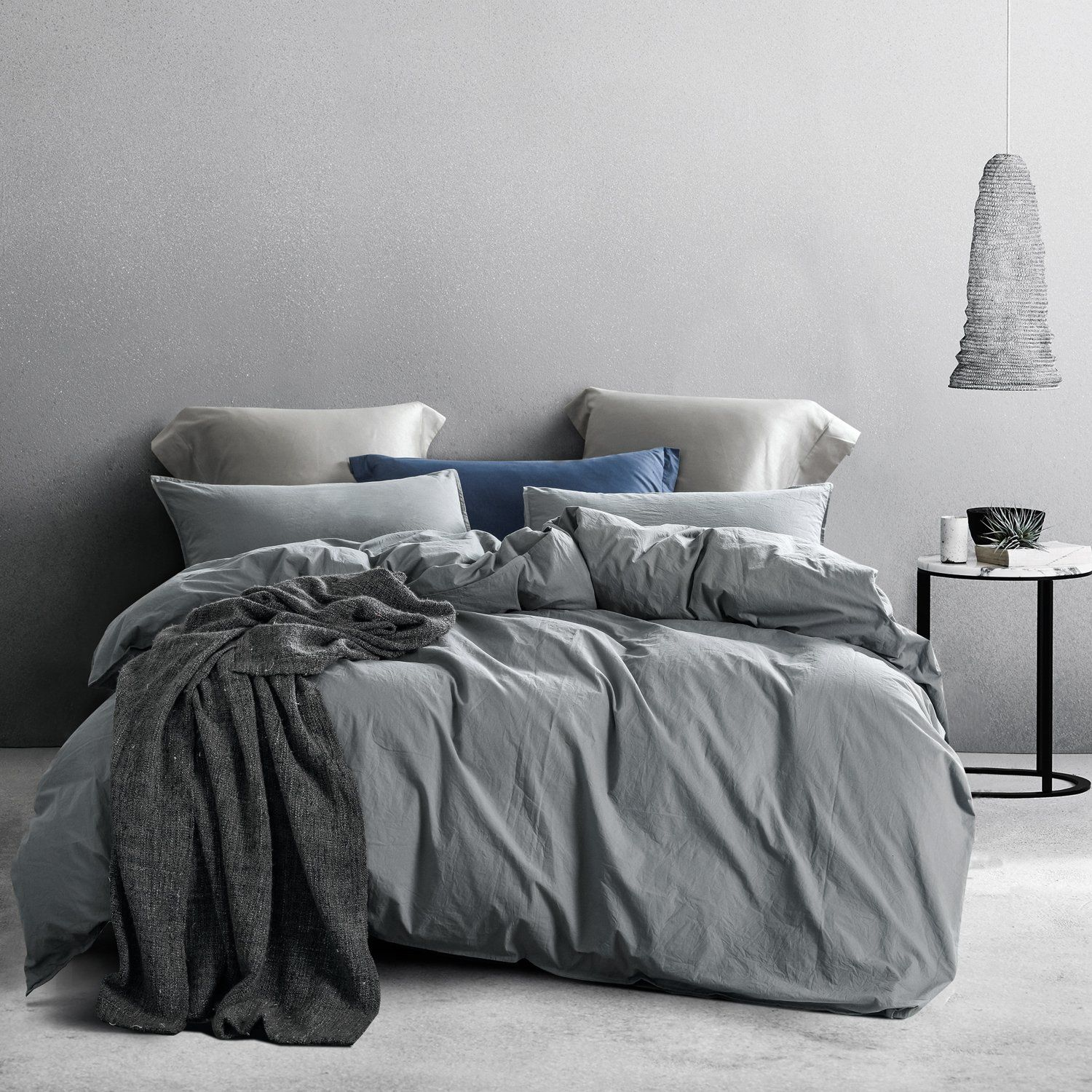 3 Pieces Washed Cotton Duvet Cover Set Grey Matching Bedding