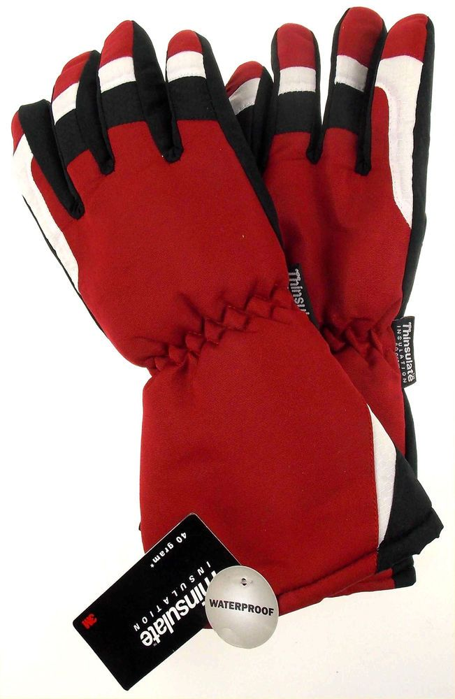 794102f01 Joe Boxer Boys Red Black Ski Gloves 3M Thinsulate Waterproof Snow Winter  Choice #JoeBoxer3MThinsulate #