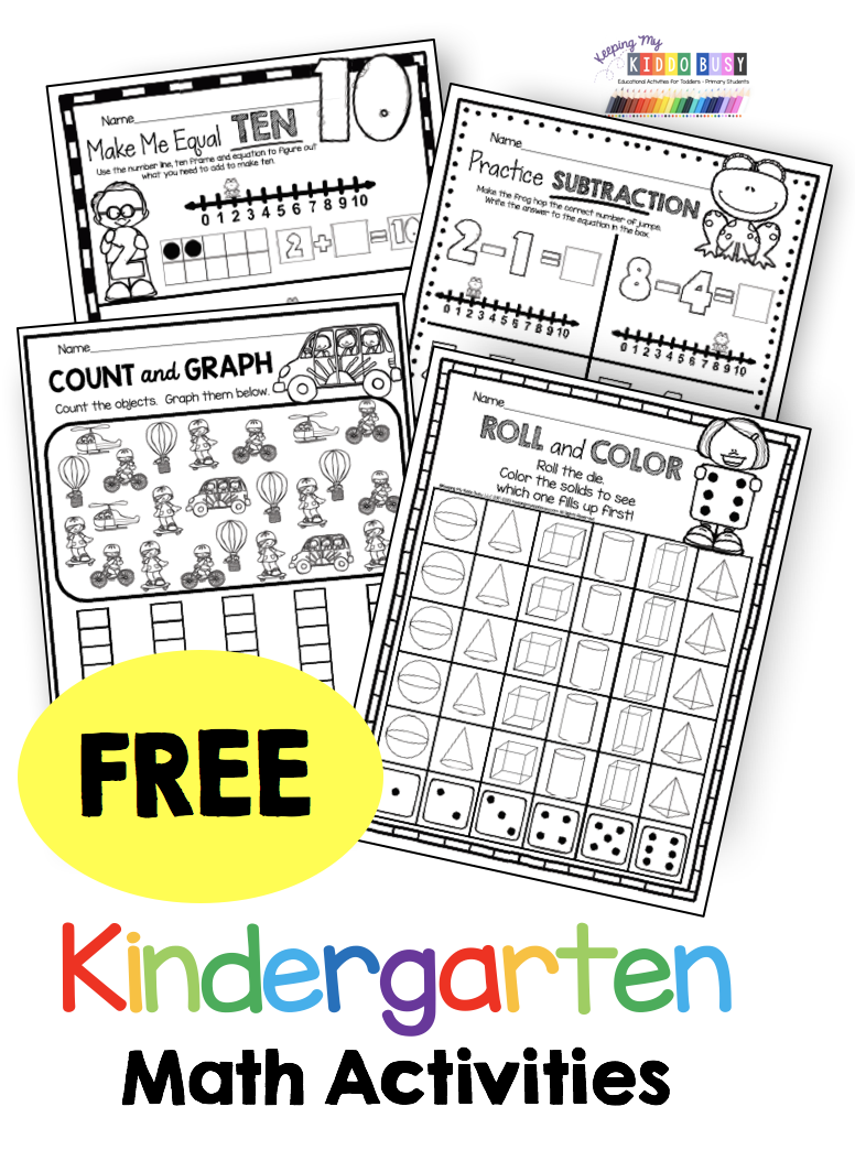 FREE kindergarten math activities and worksheets