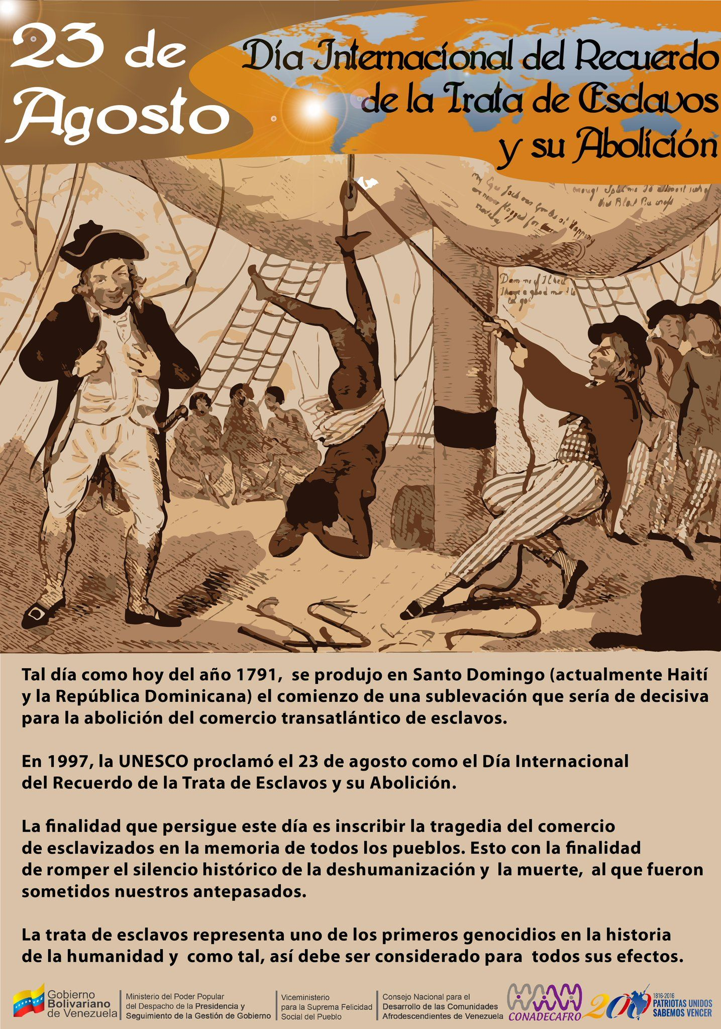 """CONADECAFRO on Twitter: """"23 de agosto día Internacional del Recuerdo de la Trata de Esclavos y su Abolición. https://t.co/fJtZKzKc0X"""""""