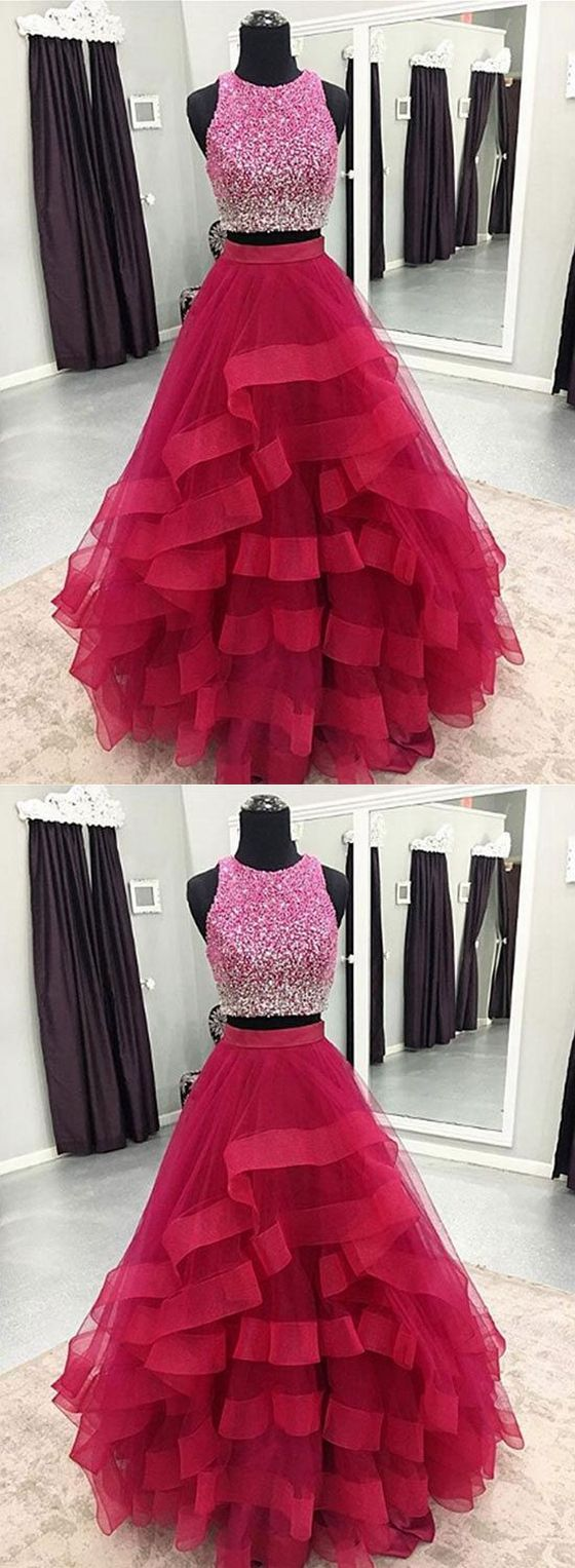 Two pieces prom dresslong homecoming dress back to schoold party