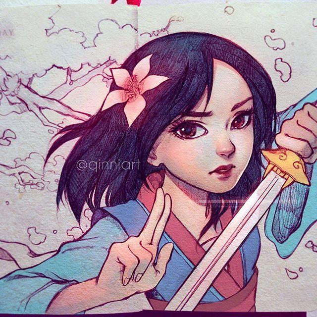 花木兰🌸 Here's Mulan for #internationalwomensday ~ • Mulan was the first Disney film I ever saw here that I felt I could relate to, and not just because she was also Chinese; I've always grown up with a complex about image (and the huuuuge scar down my chest doesn't help and it kinda came back the past year haha;💧💧). But anyways xD~ She's just such an awesome, strong character on top of that. I still remember watching it at my mom's friend's house~ Who's your female role models growing up?…