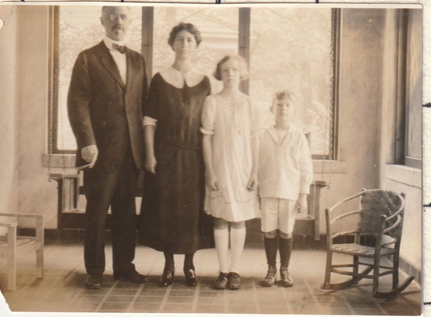 Victorian Middle Class Family In A Stark Room Vintage Photograph