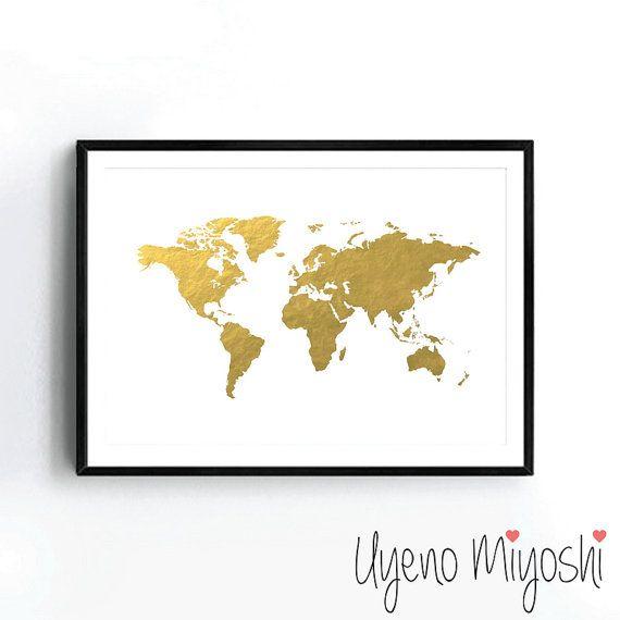 World map i gold foil print gold print map custom print in gold 2000 world map gold foil print gold print map custom by uyenomiyoshi gumiabroncs Gallery