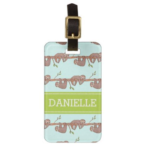 Baby Sloths hanging on Tree Pattern Bag Tag | Zazzle.com #babysloth