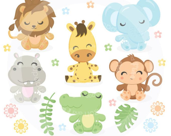 Safari Baby Animals Clipart Jungle Animals Clipart Zoo Animals Clipart Animal Clipart Baby Animals Baby Giraffe