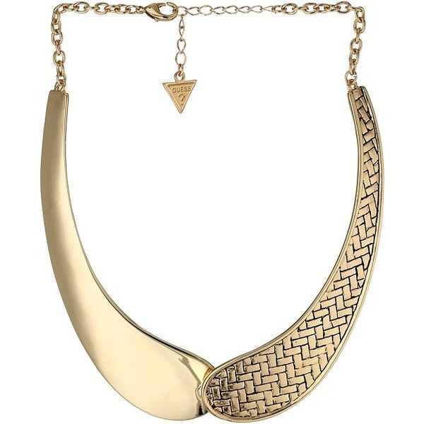 GUESS Woven Chain Banana Neck With Chain Fringe Necklace