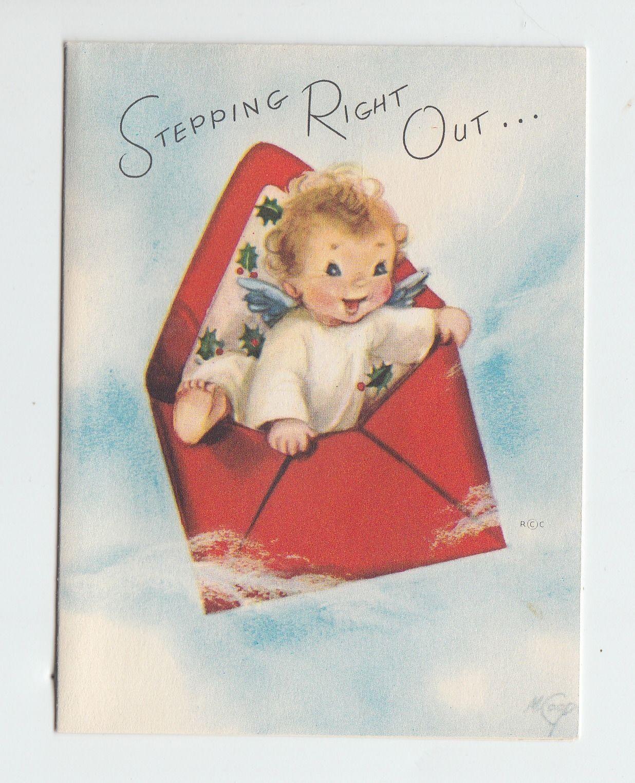 Vintage Marjorie Cooper Artist Signed Angel Envelope Christmas Greeting Card   eBay