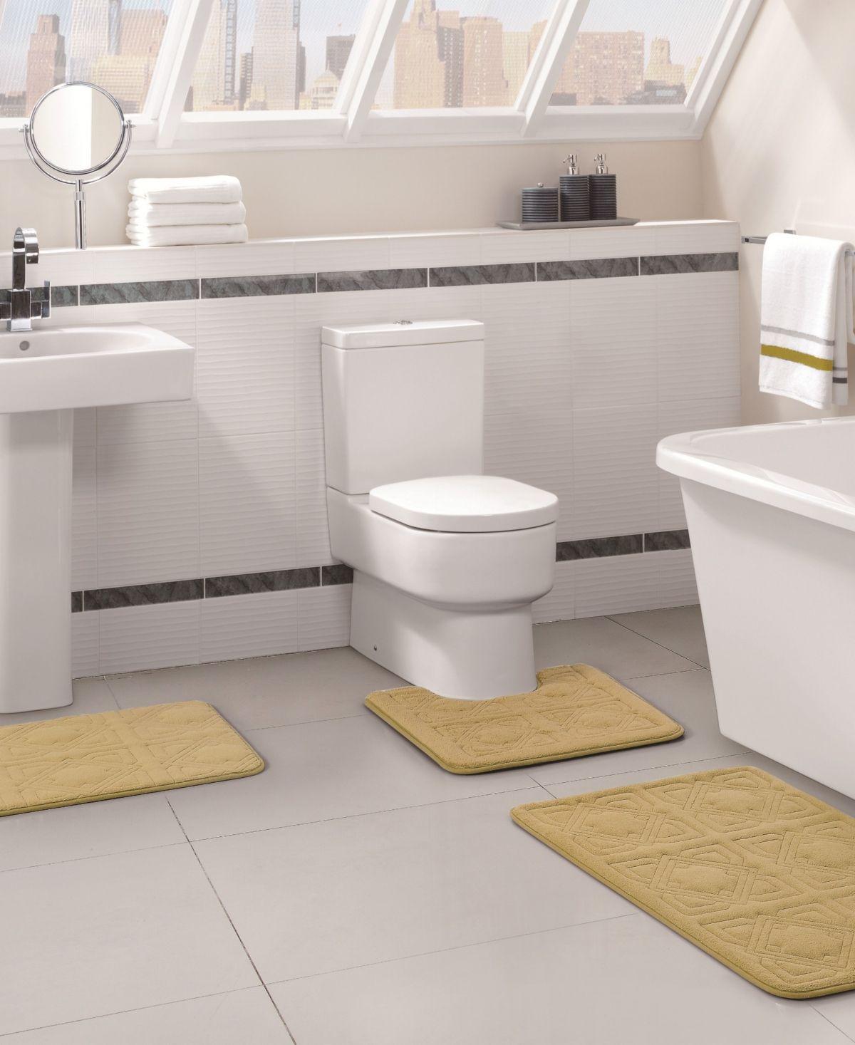 Byzantine 3 Pc Memory Foam Bath Rug Set Yellow Teal Bathroom