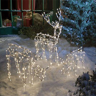 3 Piece Lighted Animated Deer Family Set Christmas Yard Decorations Outdoor Christmas Decorations Lights Christmas Yard Art