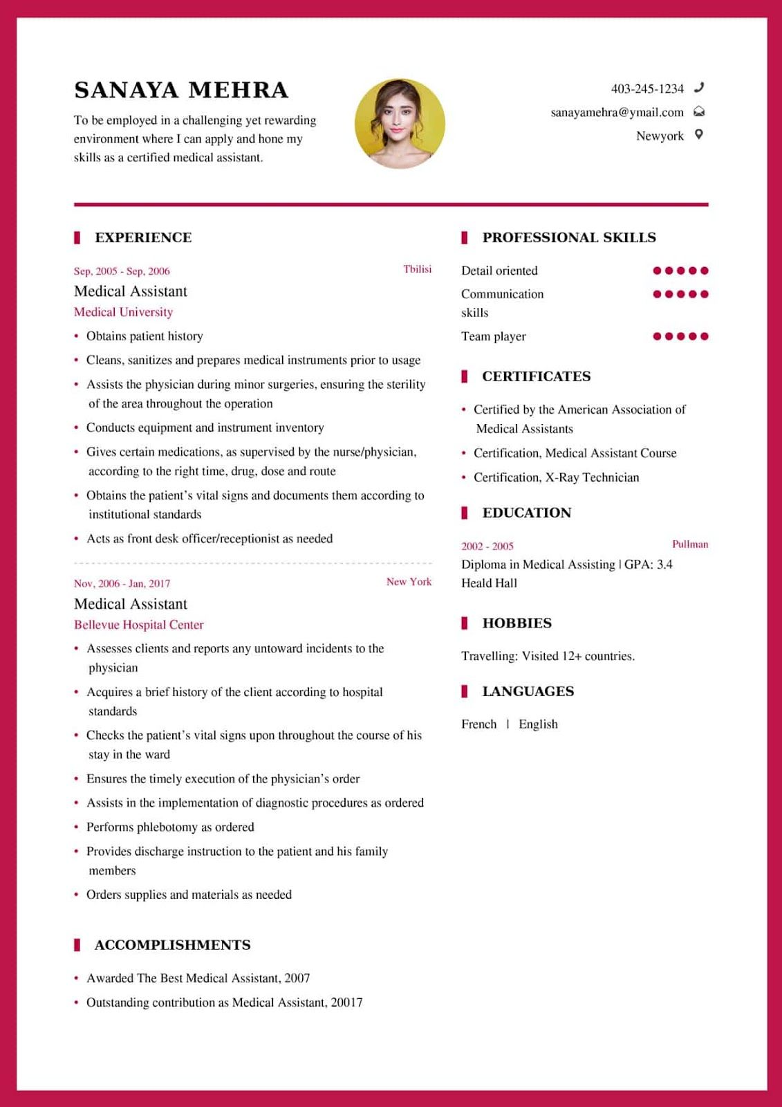 Medical assistant resume by len azumi on Curriculum vitae